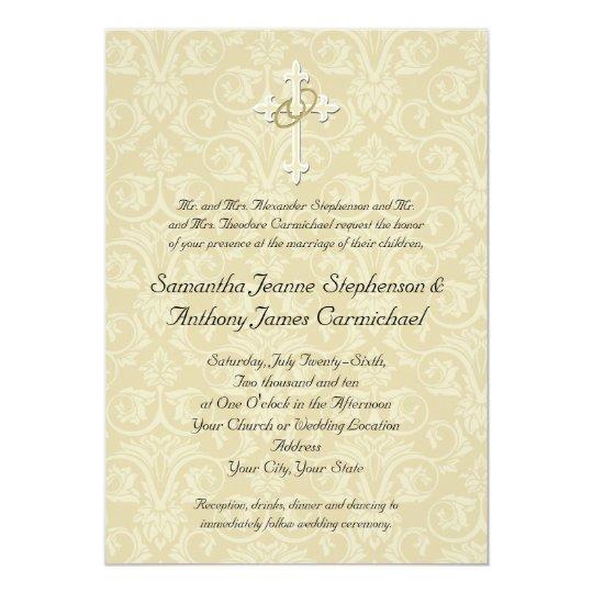 golden rings cross, christian wedding invitations | zazzle, Wedding invitations