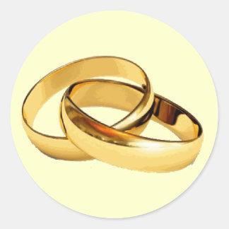 Golden Rings  Wedding Invitations Envelope Seals Classic Round Sticker
