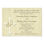 Golden Rings with Cross, Elegant Christian Love 5x7 Paper Invitation Card