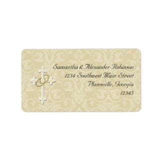 Golden Rings with Cross, Elegant Christian Love Address Label