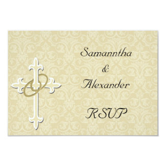 Golden Rings with Cross, Elegant Christian Love Card