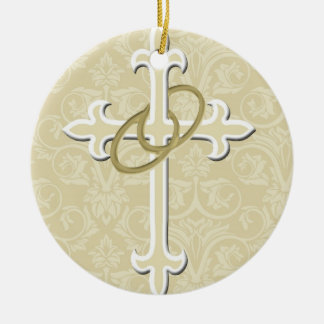 Golden Rings with Cross, Elegant Christian Love Ceramic Ornament