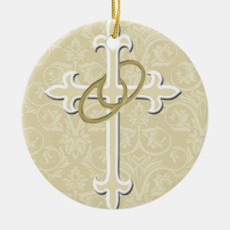 Golden Rings with Cross, Elegant Christian Love Ceramic Ornament