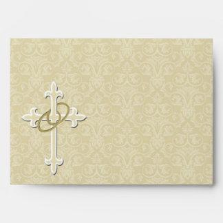 Golden Rings with Cross, Elegant Christian Love Envelope