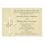 Golden Rings with Cross, Elegant Christian Love Personalized Invitations