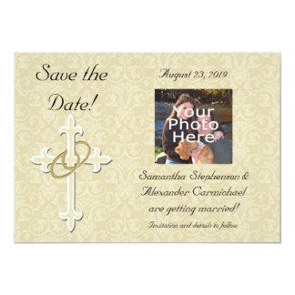 "Golden Rings with Cross, Elegant Christian Love 5"" X 7"" Invitation Card"