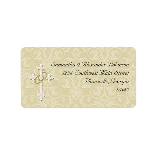 Golden Rings with Cross, Elegant Christian Love Custom Address Label