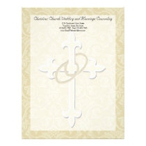 Golden Rings with Cross, Elegant Christian Love Letterhead