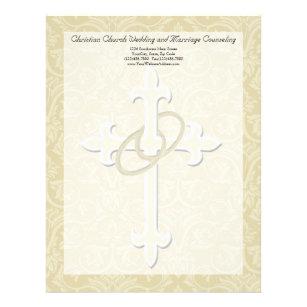 golden rings with cross elegant christian love letterhead