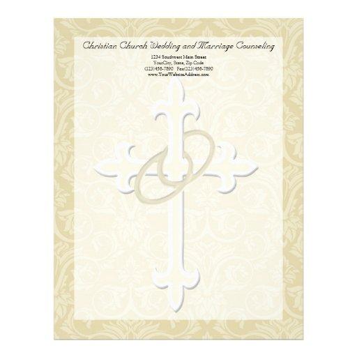 Golden Rings with Cross, Elegant Christian Love Letterhead Design