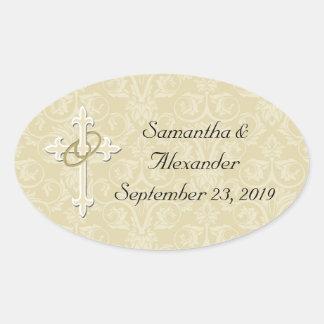 Golden Rings with Cross, Elegant Christian Love Oval Sticker