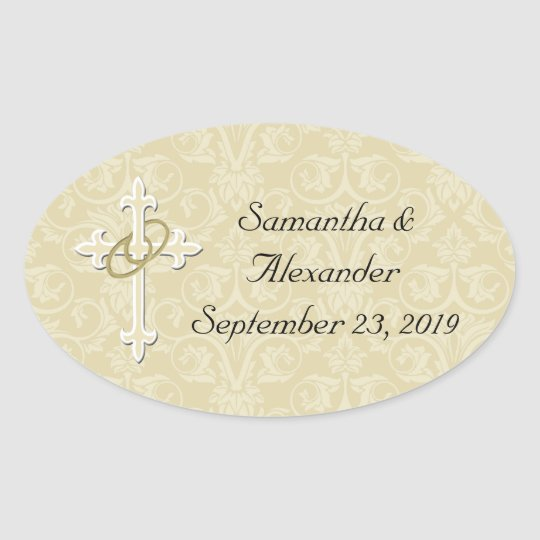 Golden Rings with Cross, Elegant Christian Love Oval Sticker