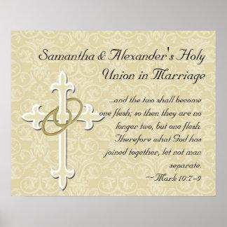 Golden Rings with Cross, Elegant Christian Love Poster