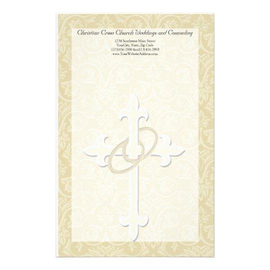 Golden Rings with Cross, Elegant Christian Love Stationery