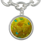 gold, yellow, abstract, turquoise, designer