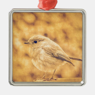 Golden Robin Square Metal Christmas Ornament