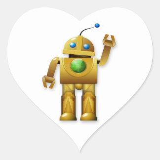 Golden Robot Waving Heart Sticker
