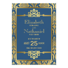 Golden Romance 1920s Art Deco Save the Date Personalized Invitations