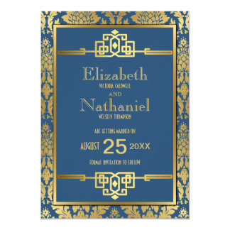"Golden Romance 1920s Art Deco Save the Date 5"" X 7"" Invitation Card"