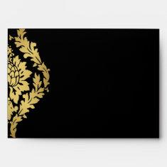Golden Romance Art Deco Envelope Black & Gold