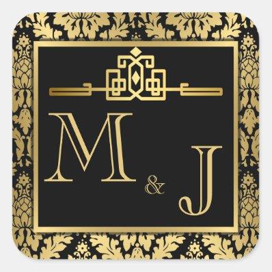 Golden Romance Art Deco Envelope Seal Square Stickers
