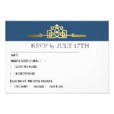 Golden Romance Art Deco RSVP Card | teal