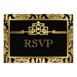 Golden Romance Art Deco RSVP Card V2 Custom Invite