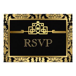 Golden Romance Art Deco RSVP Card V2