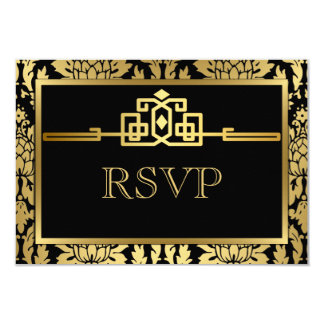 "Golden Romance Art Deco RSVP Card V2 3.5"" X 5"" Invitation Card"