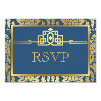 Golden Romance Art Deco RSVP Card V2 | Teal Custom Invitations
