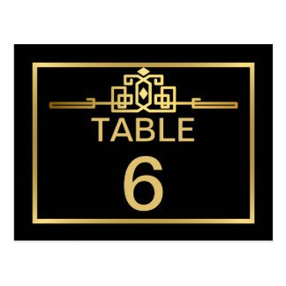 Golden Romance Art Deco Table Number Card