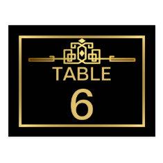 Golden Romance Art Deco Table Number Card Postcard