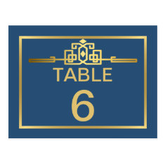 Golden Romance Art Deco Table Number Card | teal Post Cards