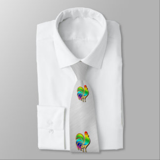 Golden Rooster Bird With Rainbow Feathers And Tail Neck Tie