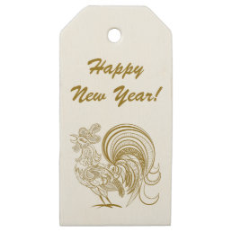 Golden Rooster. Happy New Year Gift Tag