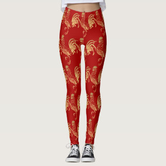 Golden Roosters Year 2017 Red Leggings