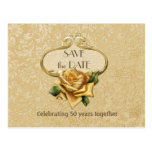 Golden Rose 50th Anniversary Save the Date Postcard