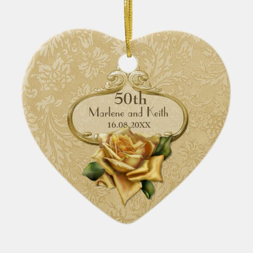 Golden Wedding Anniversary Gift Experiences : Golden Rose 50th Wedding Anniversary Ceramic Ornament Zazzle