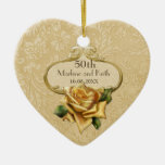 Golden Rose 50th Wedding Anniversary Double-Sided Heart Ceramic Christmas Ornament