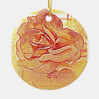 Golden Rose Ceramic Ornament
