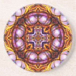 Golden Rose Cross  Sandstone Coaster