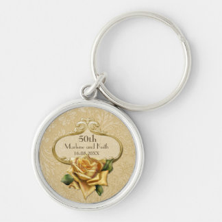 Golden Rose Damask 50th Wedding A Keychain