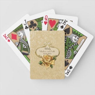Golden Rose Damask 50th Wedding A Bicycle Card Deck