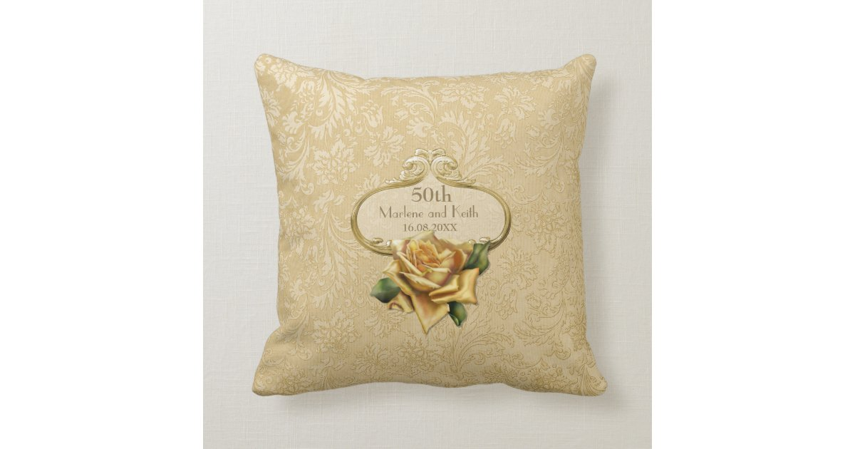 50th Wedding Anniversary Gift Pillows: Golden Rose Damask 50th Wedding Anniversary Pillow