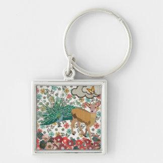 Golden Rose Deer & Peacock Floral Keychain