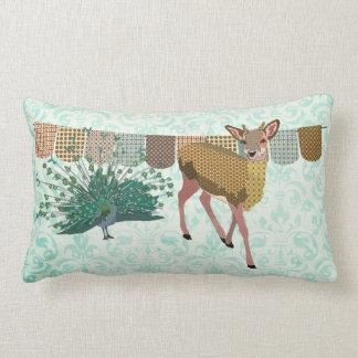 Golden Rose Deer & Peacock  Mojo Pillow