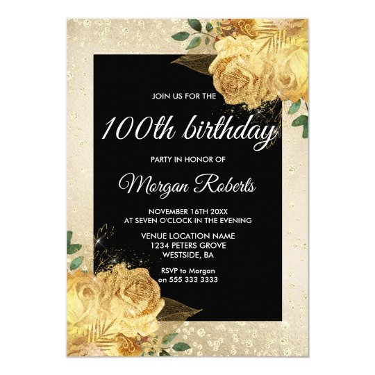 golden rose glitter floral 100th birthday party invitation zazzle com