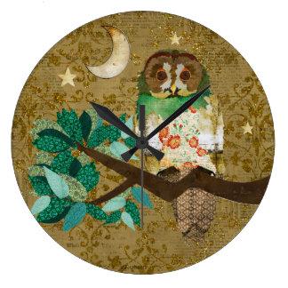 Golden Rose Night Owl Wall Clock