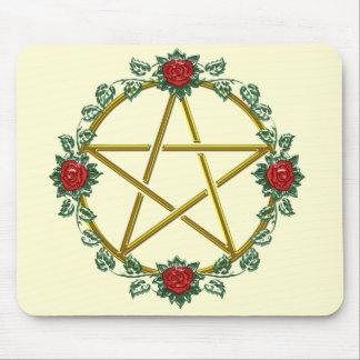 Golden Rose Pagan Pentacle Pentagram Mousepad
