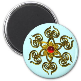 GOLDEN ROSE RUBY 2 INCH ROUND MAGNET